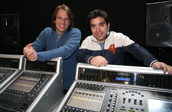 Dubology's Ivan Ordenes with Drew Menard (Group Technologies) and a brand new DiGiCo DS00